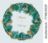trendy tropical leaves vector... | Shutterstock .eps vector #774815029