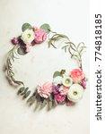 floral round frame  | Shutterstock . vector #774818185