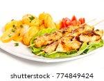 chicken skewers with turkish... | Shutterstock . vector #774849424