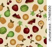seamless glossy fruit pattern... | Shutterstock .eps vector #77485600