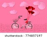 bike in the garden with basket... | Shutterstock .eps vector #774857197