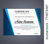 certificate template in vector... | Shutterstock .eps vector #774873487