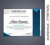 certificate template in vector... | Shutterstock .eps vector #774874651