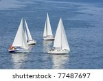 Four Yachts Making A Close Tur...
