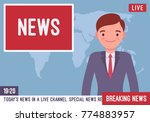 tv news anchorman. young man ... | Shutterstock .eps vector #774883957