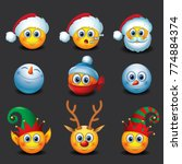 set of christmas emoticons  ... | Shutterstock .eps vector #774884374