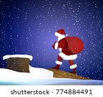 santa carries the heavy present ... | Shutterstock .eps vector #774884491