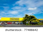 THAMES, NEW ZEALAND - FEBRUARY 3: Cars at Pak'n Save supermarket parking lot on February 3, 2010. Pak'n Save is a New Zealand discount supermarket chain founded in 1985. - stock photo
