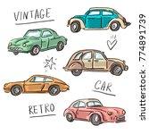 set illustration with vintage... | Shutterstock .eps vector #774891739