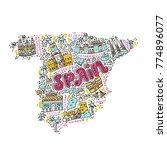 map of spain made in cartoon...   Shutterstock .eps vector #774896077