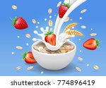 strawberry and oatmeal flakes.... | Shutterstock .eps vector #774896419