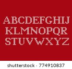 knit font. christmas knitted... | Shutterstock .eps vector #774910837