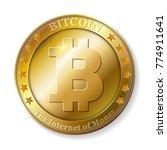 realistic 3d golden bitcoin... | Shutterstock .eps vector #774911641