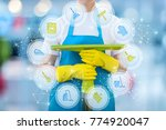 cleaning lady with cleaning... | Shutterstock . vector #774920047