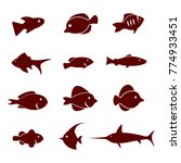 vector icon set of fish... | Shutterstock .eps vector #774933451