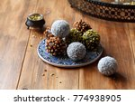 vegan chocolate cake pops... | Shutterstock . vector #774938905