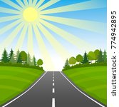 highway with a summer or spring ... | Shutterstock .eps vector #774942895