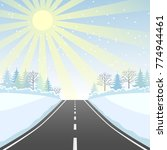 highway with a winter landscape.... | Shutterstock .eps vector #774944461