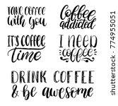 vector handwritten coffee... | Shutterstock .eps vector #774955051