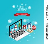 online merry christmas and... | Shutterstock .eps vector #774957067