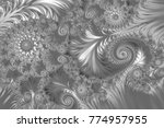 silver fractal  grey abstract... | Shutterstock . vector #774957955