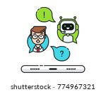 chatbot concept. man chatting... | Shutterstock .eps vector #774967321