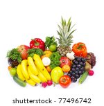 fresh fruits and vegetables... | Shutterstock . vector #77496742