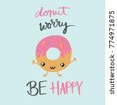 happy donut | Shutterstock .eps vector #774971875