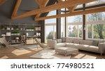 living room of luxury eco house ... | Shutterstock . vector #774980521