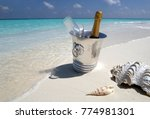 luxury vacation   champagne on... | Shutterstock . vector #774981301