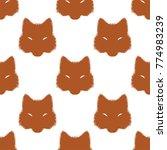 fox face head orange pattern   Shutterstock .eps vector #774983239
