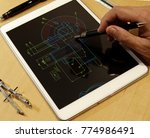 engineer working on mechanical... | Shutterstock . vector #774986491