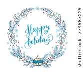 hand drawn winter holiday... | Shutterstock .eps vector #774987229