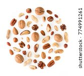 Pattern of nuts in circle form. ...