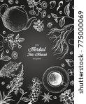 herbal tea shop frame vector... | Shutterstock .eps vector #775000069