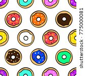 colorful cute donuts on white... | Shutterstock .eps vector #775000081