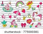 pop art girl's  patches on...   Shutterstock .eps vector #775000381