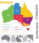 map of the regions of australia | Shutterstock .eps vector #775001491