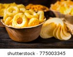 close up of wooden plate with... | Shutterstock . vector #775003345