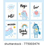 magic cards with unicorns.... | Shutterstock .eps vector #775003474