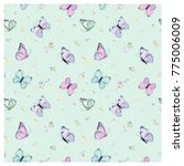 seamless pattern with flying... | Shutterstock .eps vector #775006009