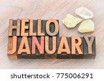 hello january in vintage... | Shutterstock . vector #775006291