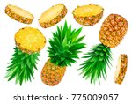 pineapple collection. whole and ... | Shutterstock . vector #775009057