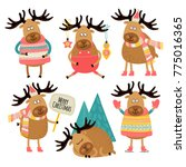 set of illustrations with... | Shutterstock .eps vector #775016365