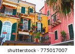 colorful facades of famous... | Shutterstock . vector #775017007