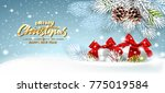 christmas card with gifts on a... | Shutterstock .eps vector #775019584