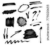 vector set of hand drawn brush... | Shutterstock .eps vector #775020655