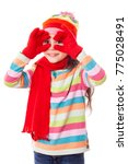 funny girl in winter clothes... | Shutterstock . vector #775028491