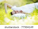young cute girl resting on soft ... | Shutterstock . vector #77504149