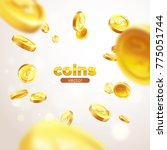 banner realistic gold coins... | Shutterstock .eps vector #775051744